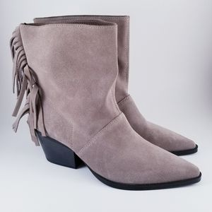 Zara Suede Fringed Leather Taupe Ankle Heel Boots